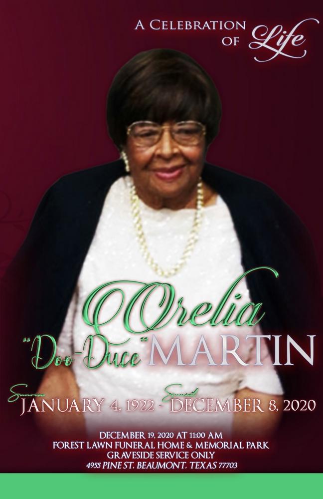 "Orelia ""Doo-Duce"" Martin 1922 – 2020"